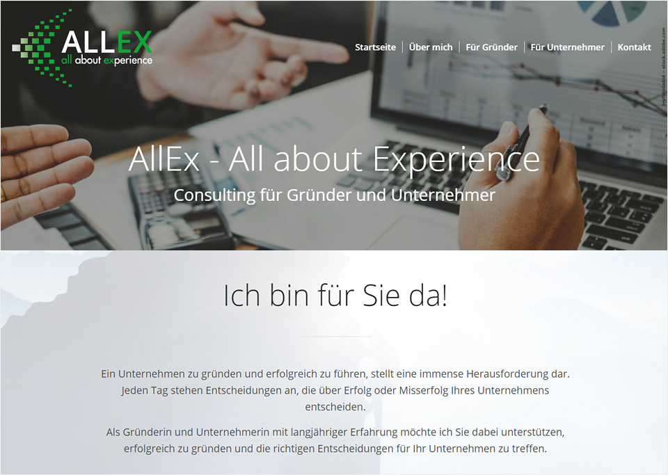 Homepage-Erstellung für AllEx – All about Experience, Dr. Christine Batzl-Hartmann, 66133 Saarbrücken
