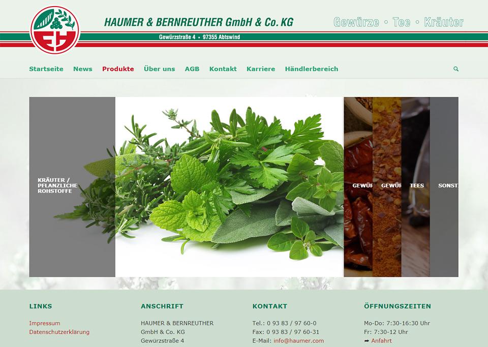 Homepage-Erstellung für Haumer & Bernreuther GmbH & Co. KG, 97355 Abtswind