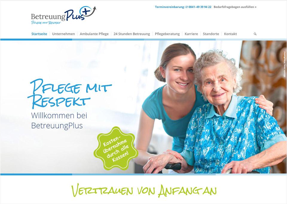 Webdesign / Website-Erstellung für BetreuungPlus, 85051 Ingolstadt