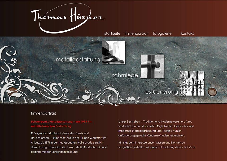 Homepage-Erstellung für Thomas Hürner, Kunst- und Bauschlosserei, 90556 Cadolzburg