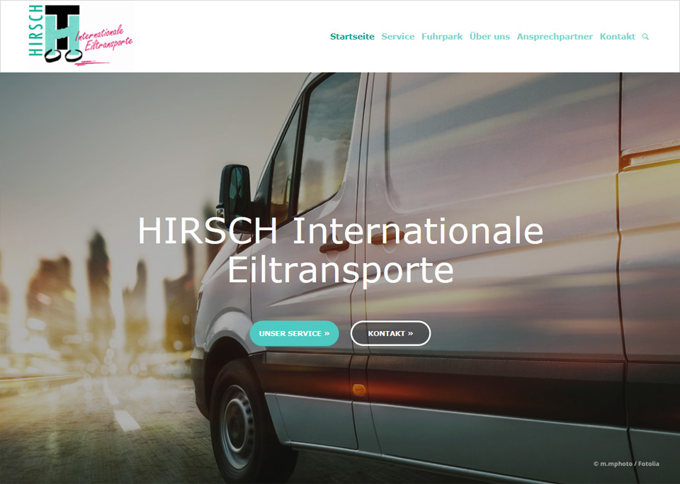 Homepage-Erstellung für HIRSCH Internationale Eiltransporte, 72622 Nürtingen