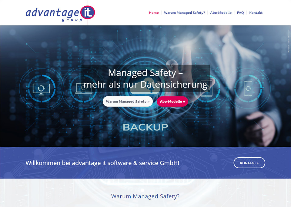 Homepage-Erstellung für Advantage it software & service GmbH, 90513 Zirndorf
