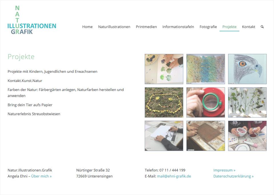 Homepage-Erstellung für Natur.Illustrationen.Grafik, Angela Ehni, 72669 Unterensingen