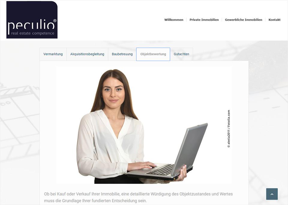 Homepage-Erstellung für Peculio real estate management GmbH, 90427 Nürnberg
