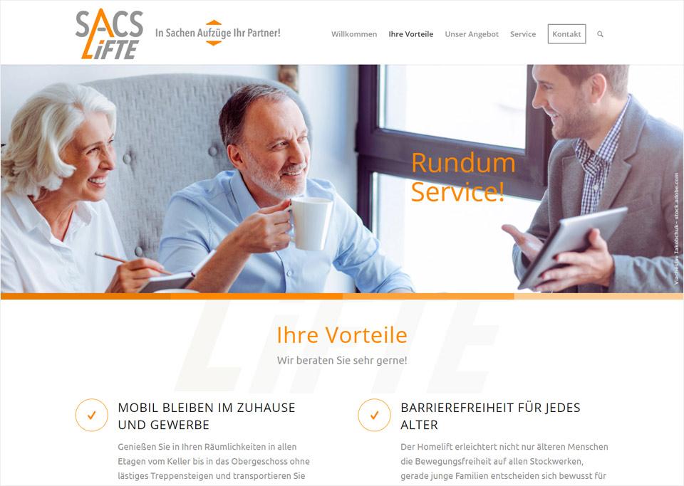 Homepage-Erstellung für SACS Lifte, Olaf Carstensen, 70374 Stuttgart
