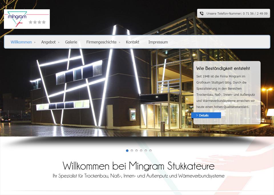 Homepage-Erstellung für Mingram Stukkateurbetriebsgesellschaft mbH, 70839 Gerlingen (bei Stuttgart)