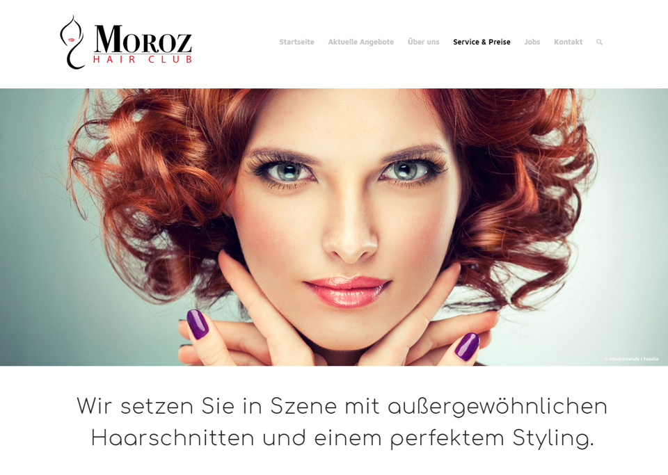Webdesign / Website-Erstellung für Moroz Hair Club, 90766 Fürth