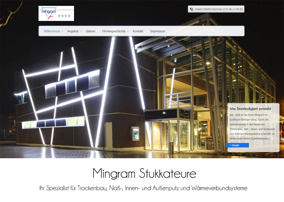 Webdesign / Website-Erstellung für Mingram Stukkateurbetriebsgesellschaft mbH, 70839 Gerlingen (bei Stuttgart)